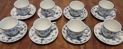 8 Royal Copenhagen BLUE FLUTED CUPS & SAUCERS 1/2162 1st Quality 1969-1974