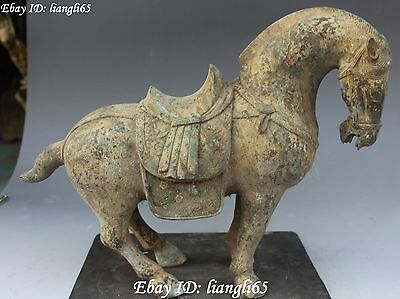 """14""""Collect Old Chinese Bronze Fengshui 12 Zodiac Year Horse Horses Animal Statue"""