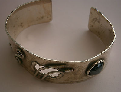 E783) Vintage Abstract Handcrafted 925 Sterling Silver Cuff Bracelet Bangle