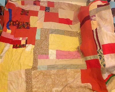 "VINTAGE WELSH HANDMADE PATCHWORK QUILT THROW BED SPREAD DOUBLE SIDED 64""x70"""
