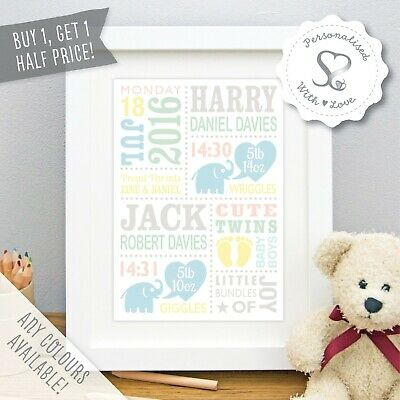 Personalised New Cute Twin Baby Elephants Christening Birth Print or Framed Gift
