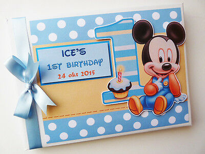 PERSONALISED BABY MICKEY MOUSE 1st BIRTHDAY  BOY/GIRL GUEST BOOK - ANY DESIGN