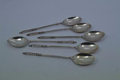 6 Revolutionary Russian ? sterling silver spoons  14.5 cm long unmarked 88 gr