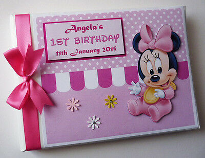 Personalised Baby Minnie Mouse  First/1St Birthday Guest Book Any Design