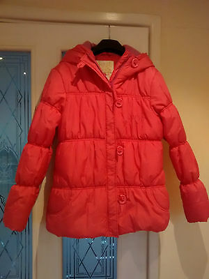 Girls pink puffer padded winter jacket Next age 11-12 years