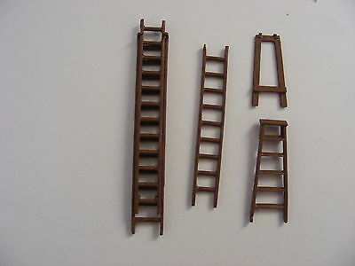 Set of Ladders, Double, Single and Step - O G - 1:43 O Gauge Painted Metal Model