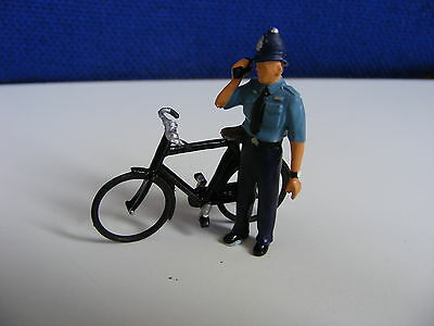 Policeman with Walkie Talkie and Bicycle - 1:43 Painted Metal Model