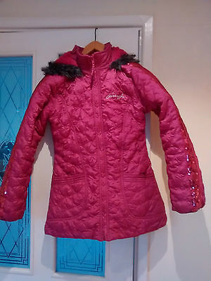 Girls dark pink padded winter jacket Pineapple age 13-14 years