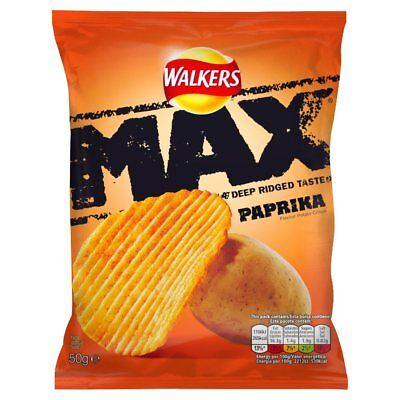Full Case Of Walkers Max Paprika Crisp 24 X 50g Free Delivery Only £18.99