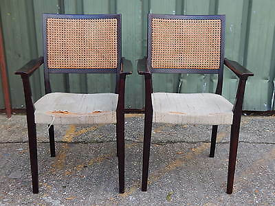 2x Svegards Markaryd rosewood carver dining arm chairs with bergere woven backs