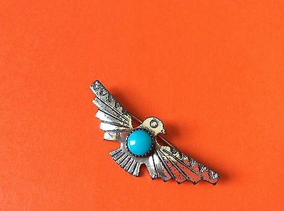 Antique VTG Native American Indian Turquoise Eagle bird Sterling brooch pin
