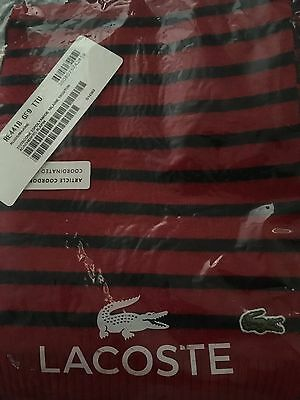 Lacoste Scarf Striped Small Unisex BNWT Red Marine Blue