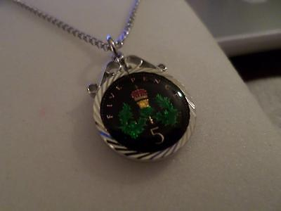 Vintage Enamelled Five Pence Coin Pendant & Necklace 1995. Birthday Xmas Gift