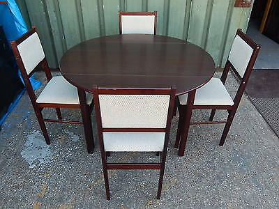 Vintage dark mahogany drop leaf dining room table with 4x dining chairs, extends