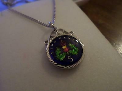 Vintage Enamelled Five Pence Coin Pendant & Necklace 1990. Birthday Xmas Present
