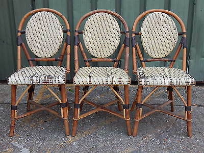 3x vintage bamboo cane & wicker dining chairs with two-tone woven crochet design