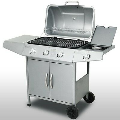 Professional BBQ Gas Grill Silver Outdoor Garden Patio 3 Burners