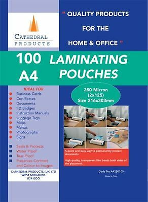 Cathedral A4 Laminating Pouches (100 Pack) 250 Micron (2 x 125)