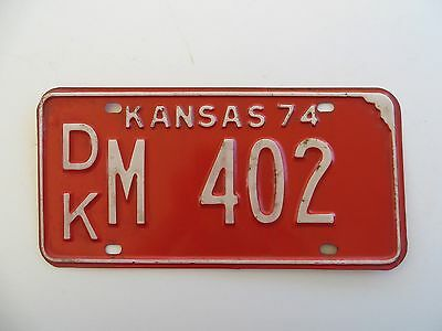 1974 Dickinson County Kansas License Plate #DK-M-402 PassengerCar Chevy Man Cave
