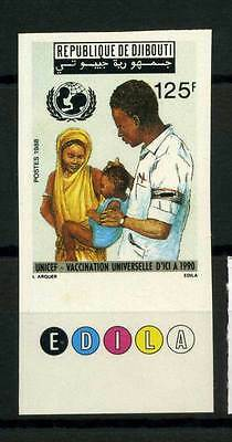 16-10-05867 - Djibouti 1988 Mi.  508 MNH 100% Imperf. Vaccination universelle D'