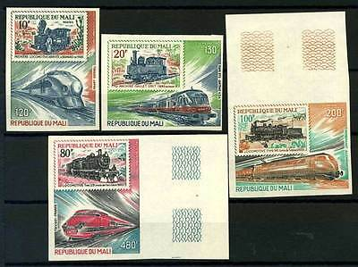 16-10-05845 - Mali 1980 Mi.  815-818 MNH 100% Imperf. Railways yesterday and tod