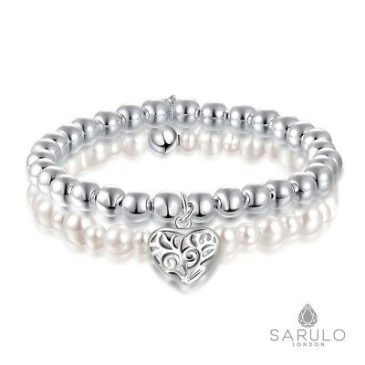 White Freshwater Pearl Beaded Bracelet 925 Sterling Silver Sarulo Jewelry Solid