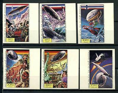 16-10-05736 - Guinea-Bissau 1978 Mi.  457-462 B MNH 80% Imperf. Airships. Nave e
