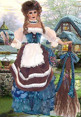 """38"""" PORCELAIN MEDIEVAL MAID, KITCHEN WENCH, PRESIDENT'S DAY, by CYNTHIA SHARP"""