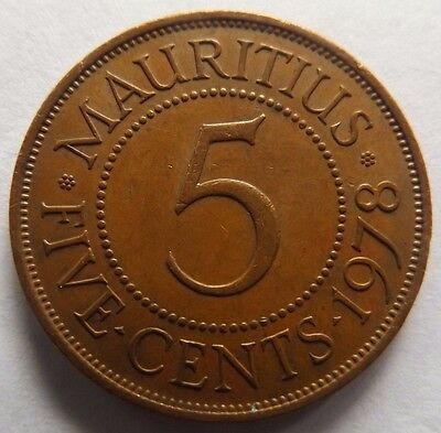 1978 Mauritius 5 Cents! Low Mintage High Quality African Coin!