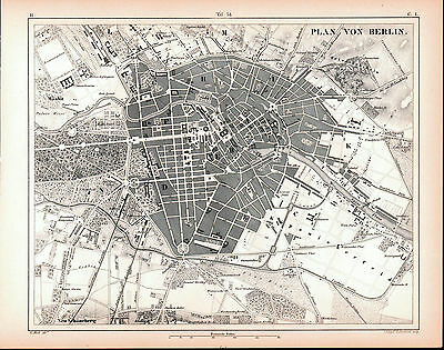 Berlin Germany Antique Engraved City Map 1857