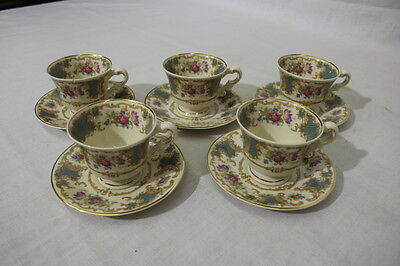 10pc Set Vintage Syracuse China Old Ivory ROMANCE GREEN Demitasse Cups & Saucers