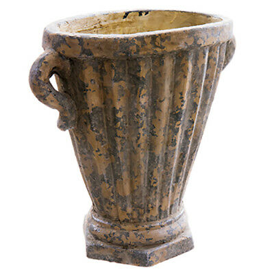 "14.1""Hx14.3""W Cement Fluted Oval Urn Planter -Antique Gray"