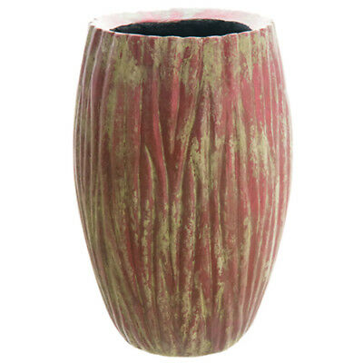 "18.5""Hx12.2""W Cement Grooved Bullet Planter -Antique Burgundy"