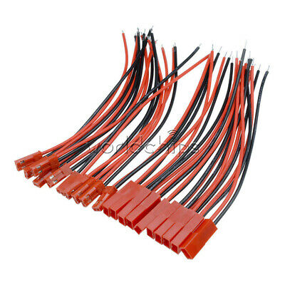 10Pairs 100mm JST Plug 2pin Connector Cable Wire Female+Male For RC Lipo Battery