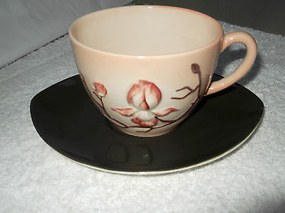 Two Carlton Ware  Pink And Brown  Cups And Saucers  In Magnolia Pattern