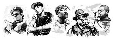 Eminem with Rap stars Long Group Drawing Poster 85x30cm