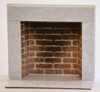 RARE Vintage  Dollhouse Miniature Faux Marble/Red Brick Fireplace   w/Hearth