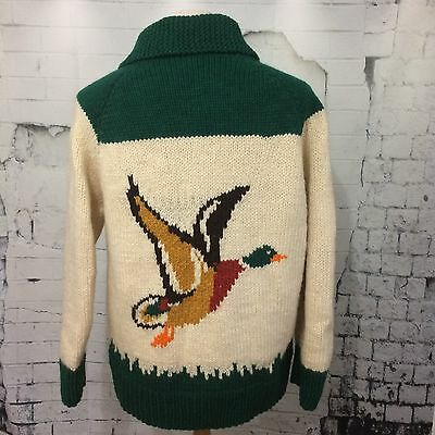 VTG Hand Knit Cardigan Sweater Hunting Birds Hand Wool Sweater Zip Full Zipper