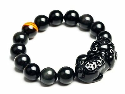 Feng Shui Obsidian Pi Yao with a Tiger Eye Bead Bracelet for Wealth With a Be...