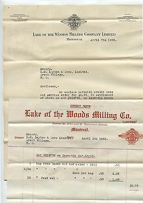 2 Old 1925 Letterheads Lake of the Woods Milling Co Montreal