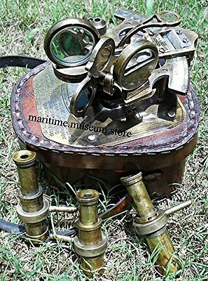 Marine Navigation Brass Nautical Antique Sextant with Leather Box. /Best Gift