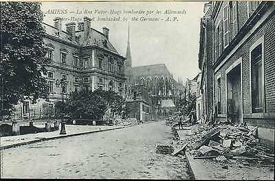 WW1 BRITISH CANADIAN FRENCH ARMY PICTURE POST CARD AMIENS DAMAGE rue VICTOR HUGO