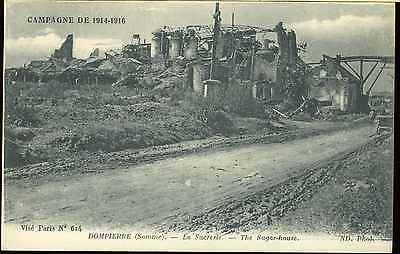 Ww1 British Canadian French Army Picture Post Card Damage Dompierre Sugar House