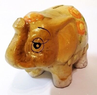 Vintage ELEPHANT hand painted Piggy Bank