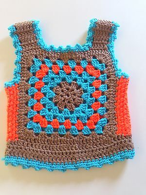 Vintage Young Girls Granny Square Crocheted Vest 1970's Style - Size 3-5 Years