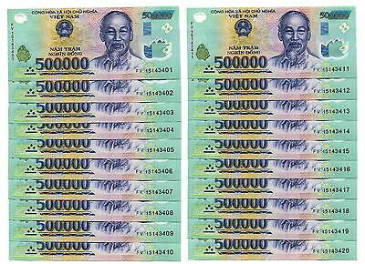 15 MILLION DONG = 30 x 500,000 500000 VIETNAM POLYMER CURRENCY BANKNOTES UNC