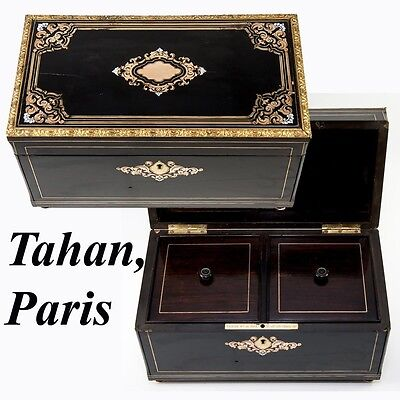 RARE TAHAN, Paris, Antique French Double Well Tea Caddy, Napoleon III Boulle