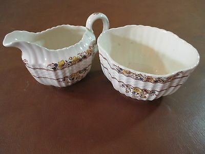 """Copeland Spode Buttercup Creamer and Sugar Bowl 3"""" tall # 21 and 55"""