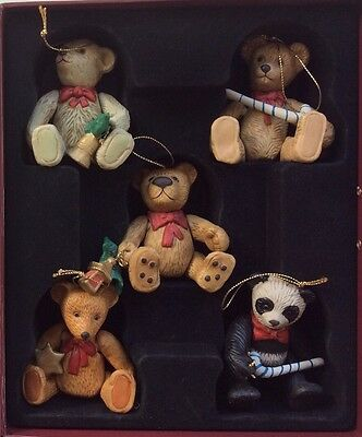 """Story Of Teddy Bears"" Hand Painted Collection Ceramic Christmas Tree Ornaments"