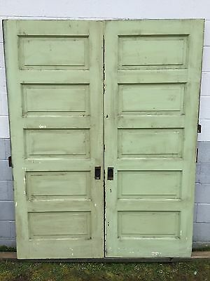 "PAIR OLD PAINT 5 RAISED PANEL POCKET SLIDING ROLLER BARN DOORS 32"" x 83"" PICKUP"
